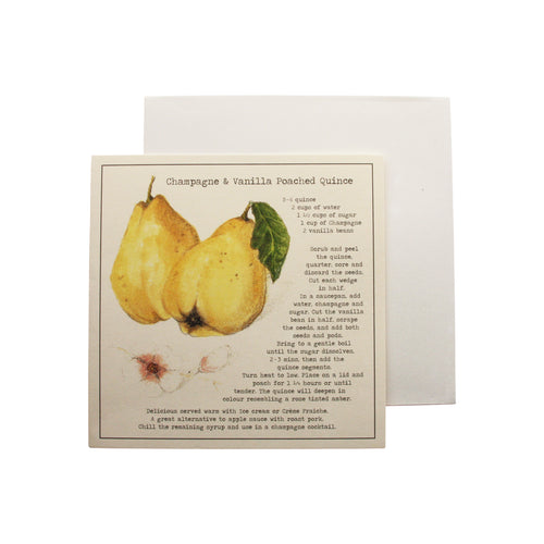 Champagne Vanilla Poached Quince Recipe Greeting card