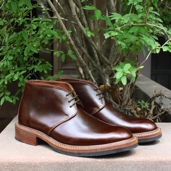 NOAH WAXMAN shell cordovan dark cognac beacon chukkas handmade in USA