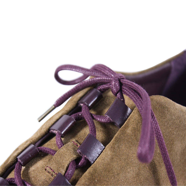 suede, sneaker, ghillie lacing, veg tanned leather, sporty, causal, classic, light brown, dark brown, vachetta - brown, red