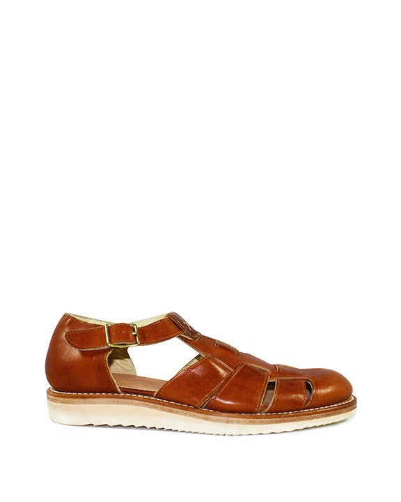Sandal, leather, made in Portugal, English tan, light brown