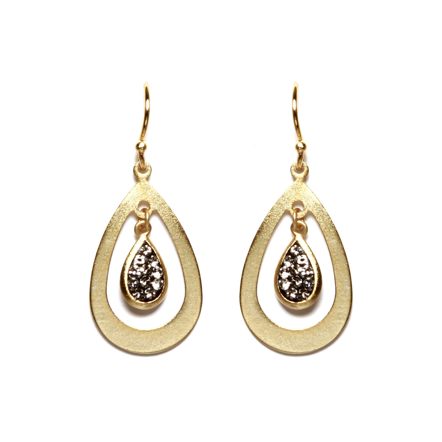 Black Diamond Crystal Floating Teardrop Earring