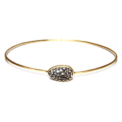 Black Diamond Crystal Sideways Teardrop Bangle Bracelet