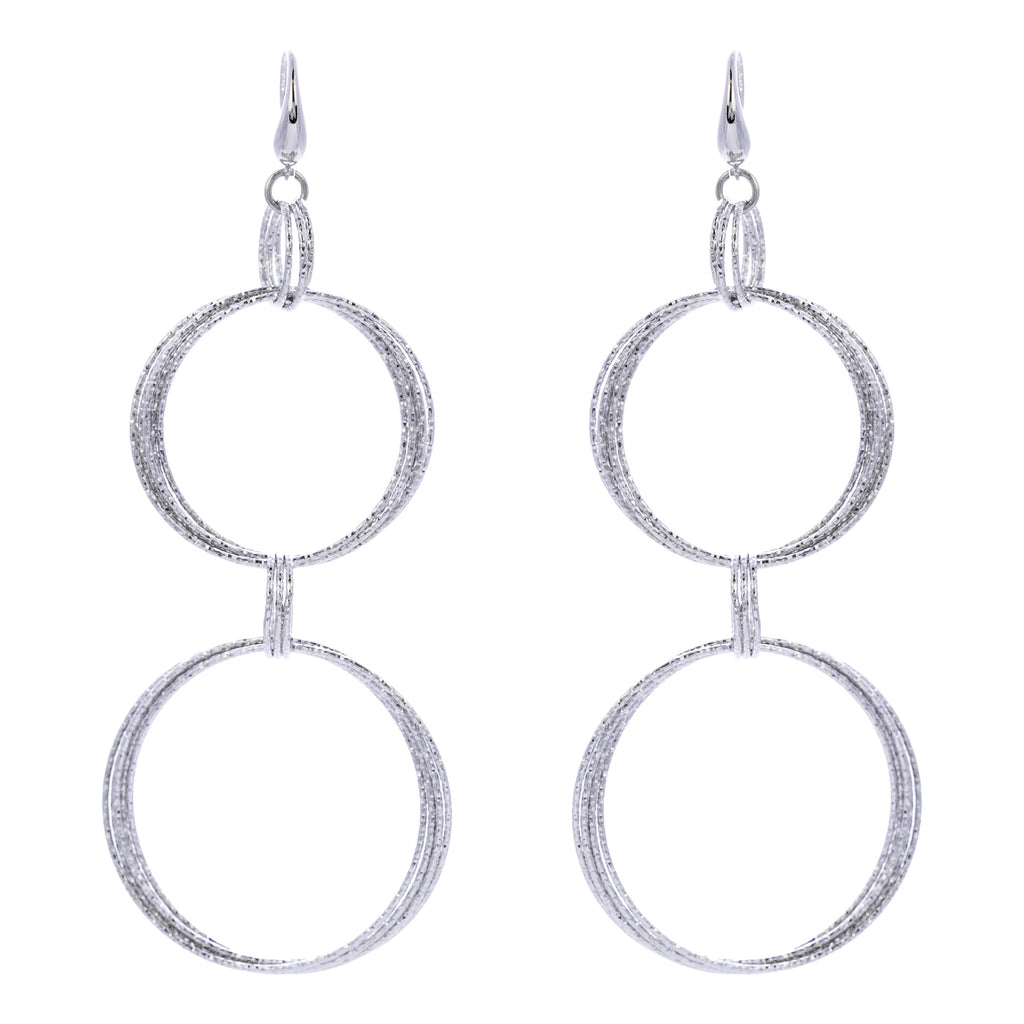 Multi Diamond Cut Circle Drop Earring