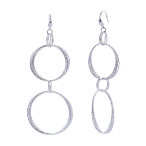 Diamond Cut Linked Multi Circle Statement Drop Earring