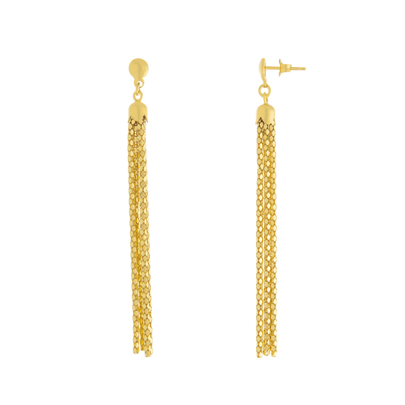 Multi Strand Textured Tassel Drop Earring