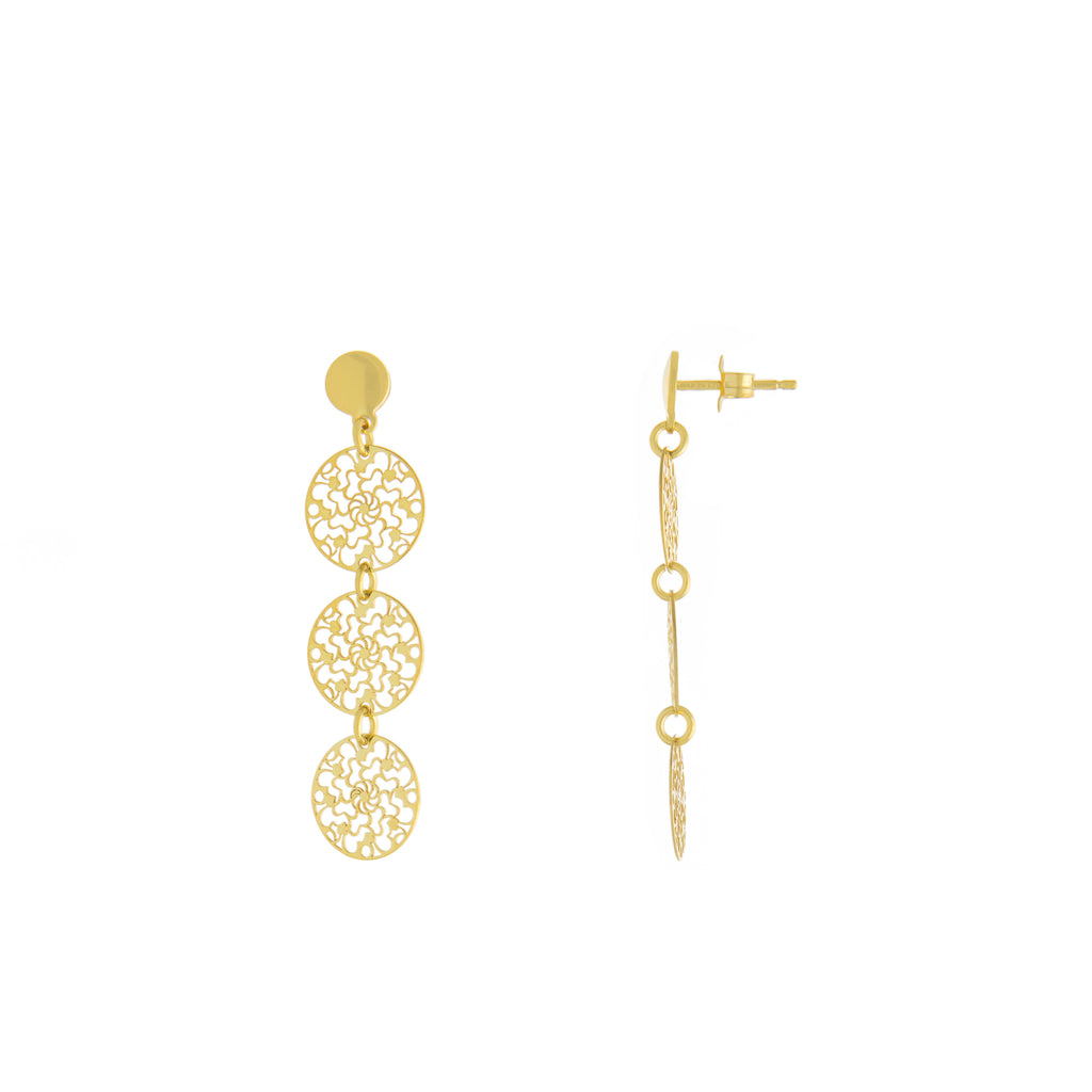 Filigree Triple Circle Drop Earring