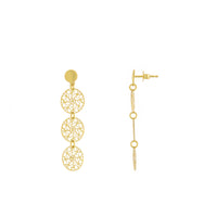 Filigree Tri Circle Drop Earring