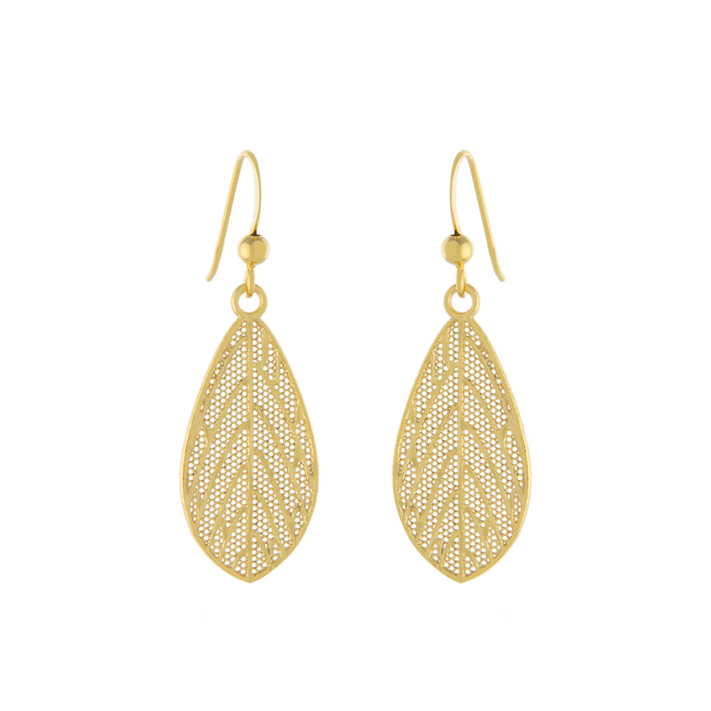 Filigree Leaf Drop Earring