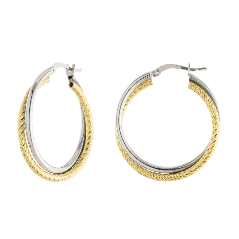 27mm Two Tone Textured Hoop