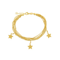 "7.25+1"" Multi Strand Star Charm Drop Adjustable Bracelet"