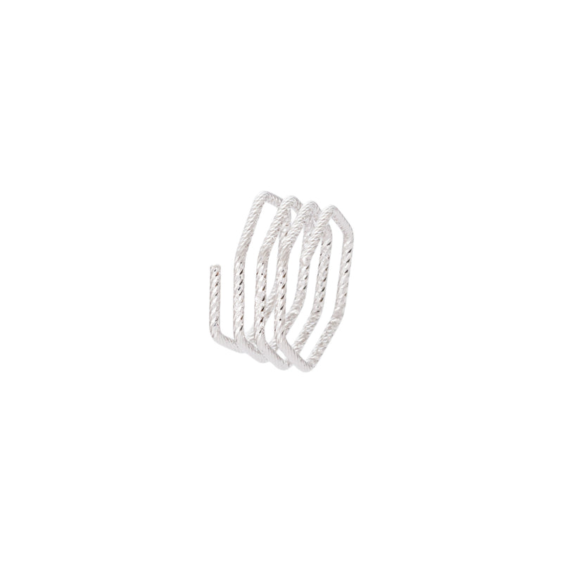 Diamond Cut Hexagon Multi Row Ring