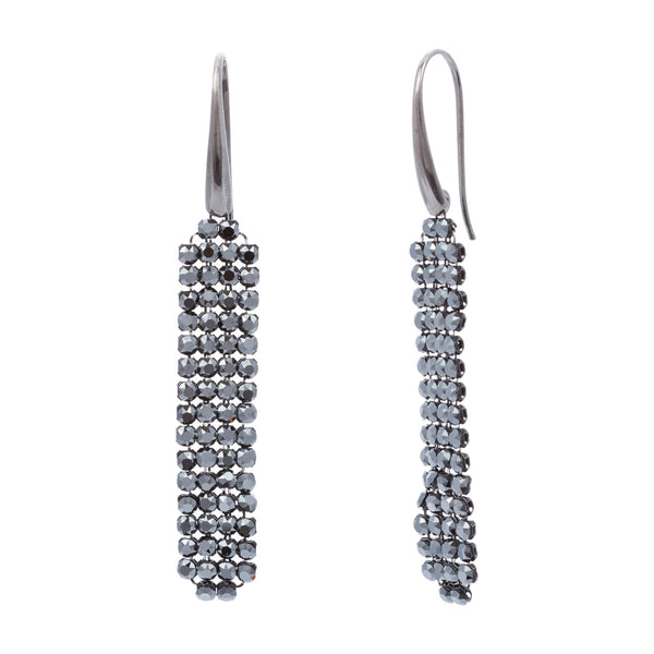 Black Swarovski® Crystal Mesh Long Drop Earring