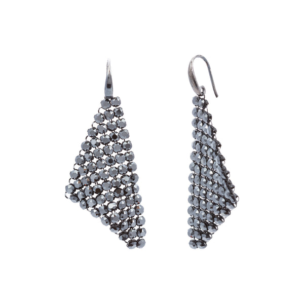 Black Swarovski® Crystal Mesh Triangle Earring