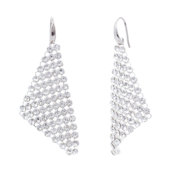 Clear Swarovski® Crystal Mesh Triangle Drop Earring