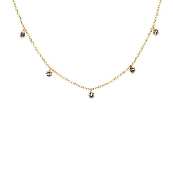 Black Diamond Crystal Multi Round Double-Sided Drop Necklace