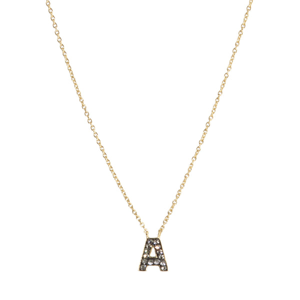"Black Diamond Crystal ""A"" Initial Necklace"