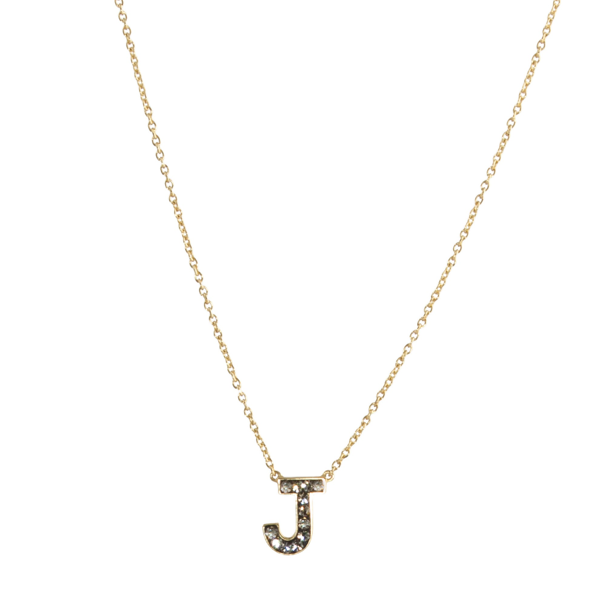 "Black Diamond Crystal ""J"" Initial Necklace"