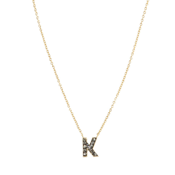 "Black Diamond Crystal ""K"" Initial Necklace"