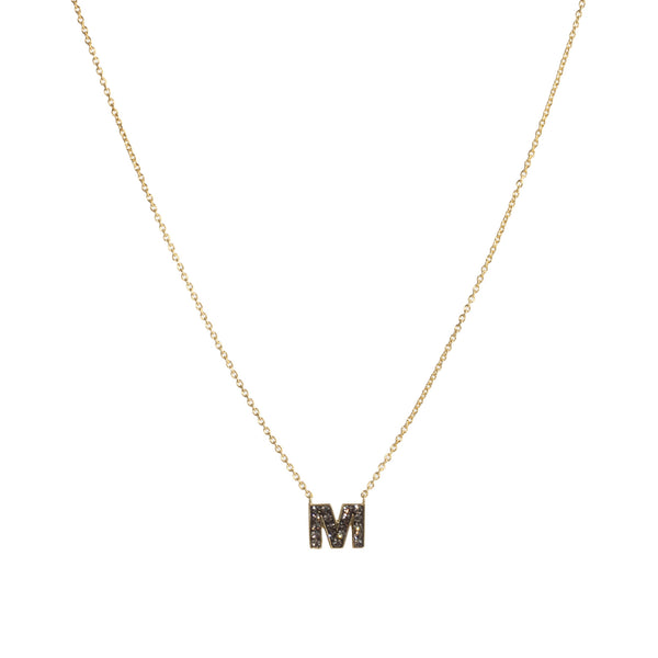 "Black Diamond Crystal ""M"" Initial Necklace"