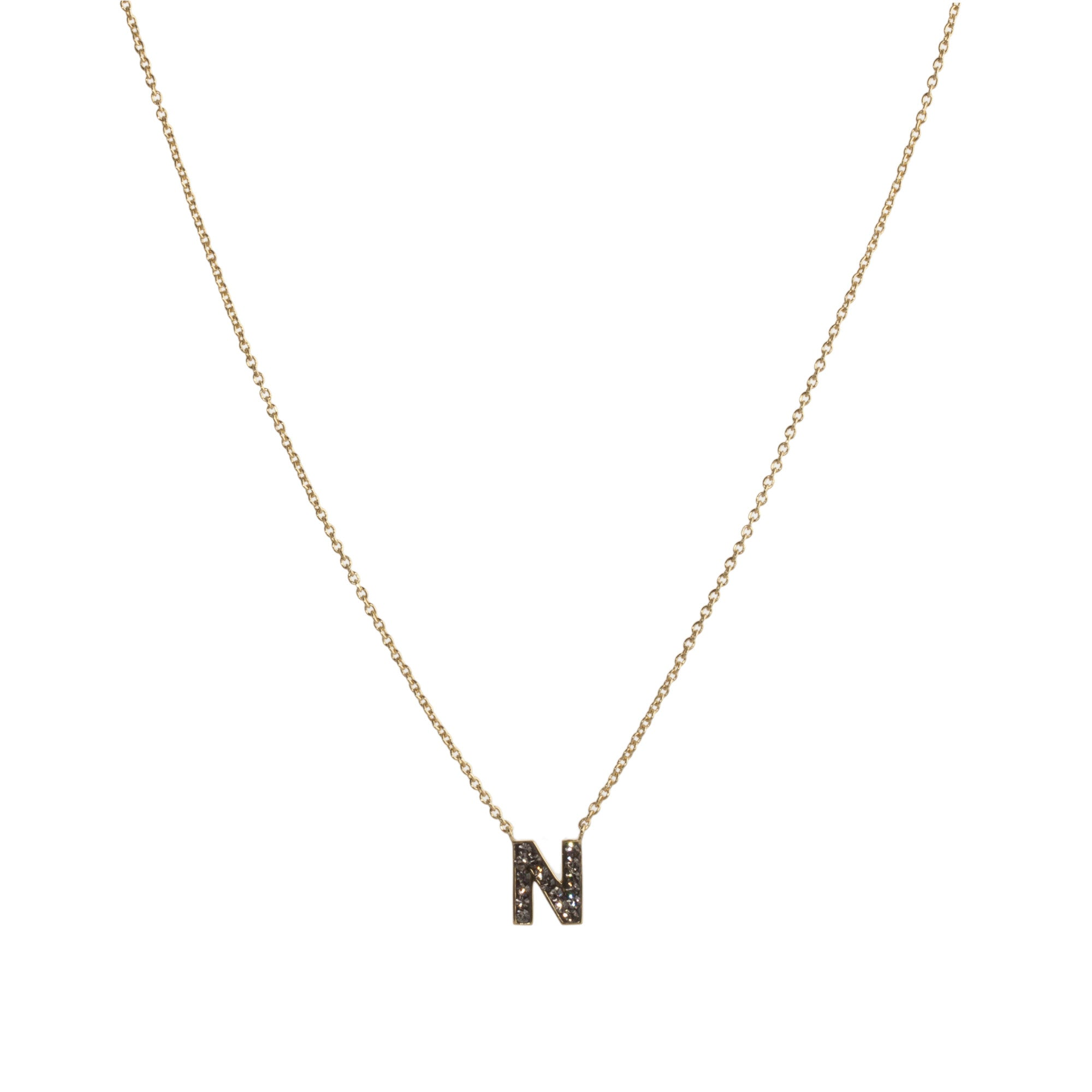 "Black Diamond Crystal ""N"" Initial Necklace"