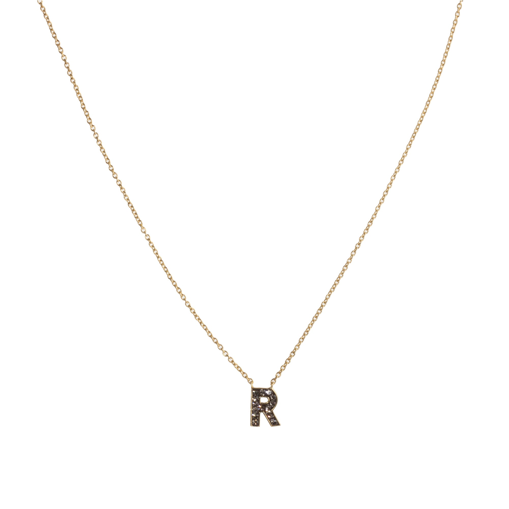 "Black Diamond Crystal ""R"" Initial Necklace"