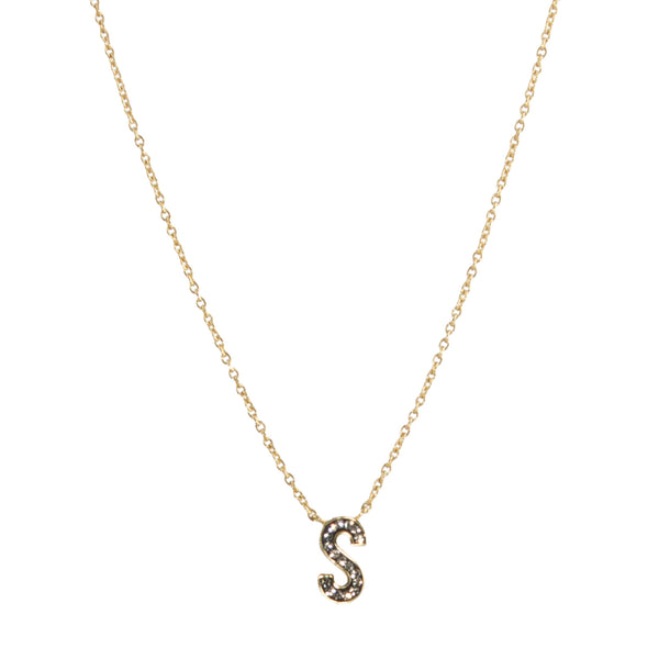 "Black Diamond Crystal ""S"" Initial Necklace"