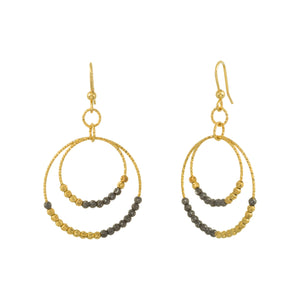 Two Tone Diamond Cut Beaded Double Circle Drop Earring
