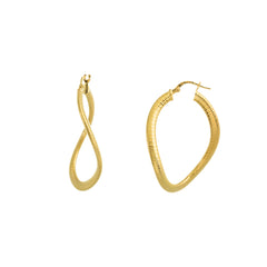 Textured Twisted Oval Hoop Earring