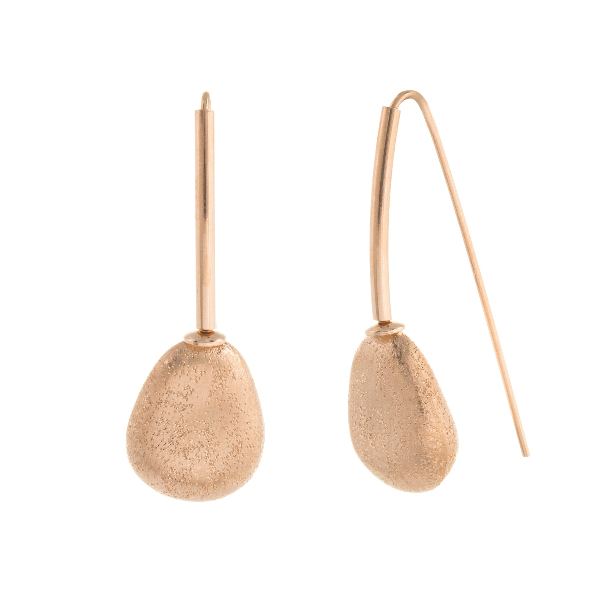 Satin Textured Single Abstract Drop Earring
