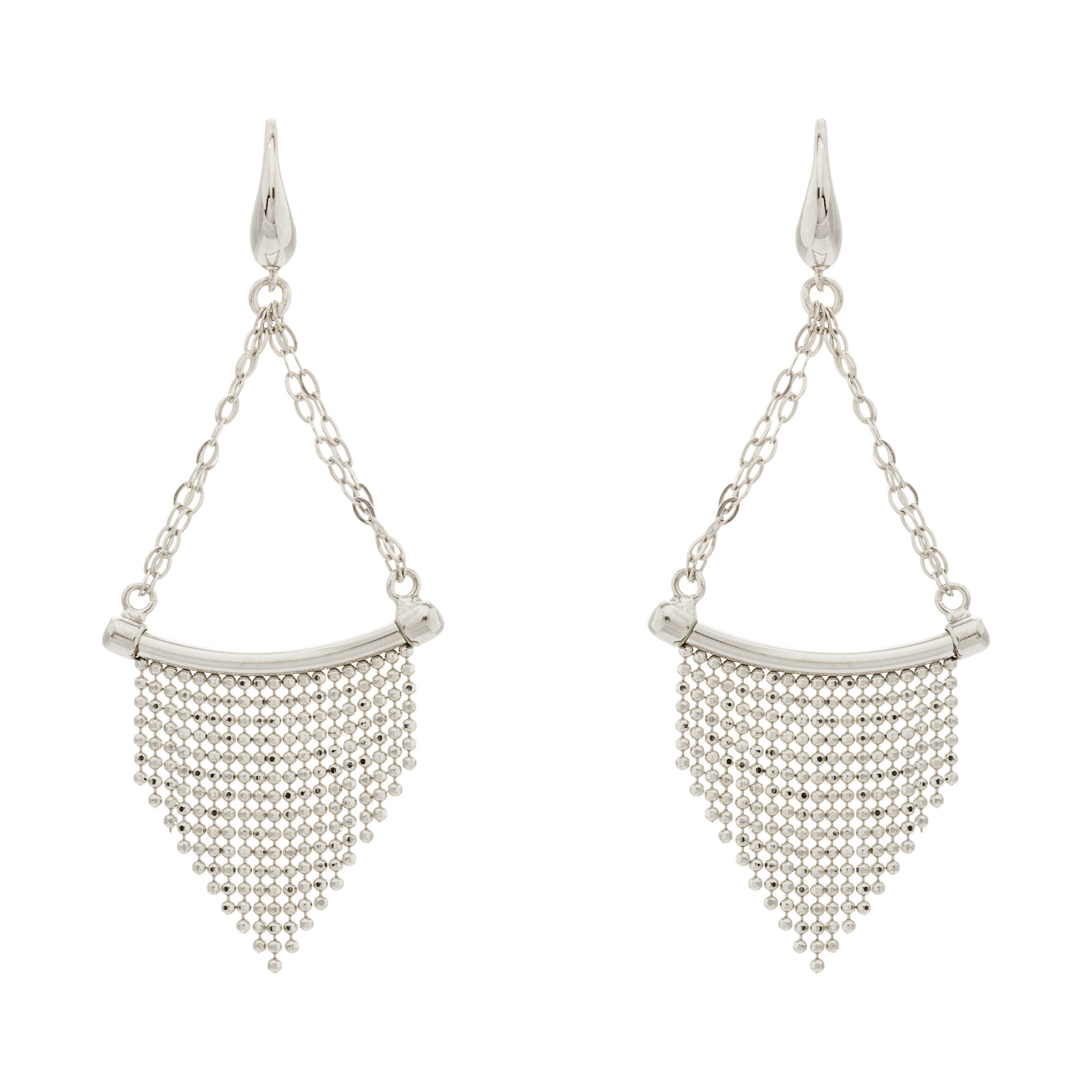 Diamond Cut Beaded Fringe Triangle Chain Drop Curved Bar Earring