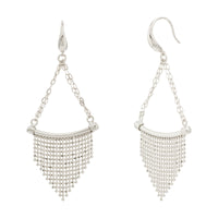 Diamond Cut Fringe Triangle Curved Bar Earring