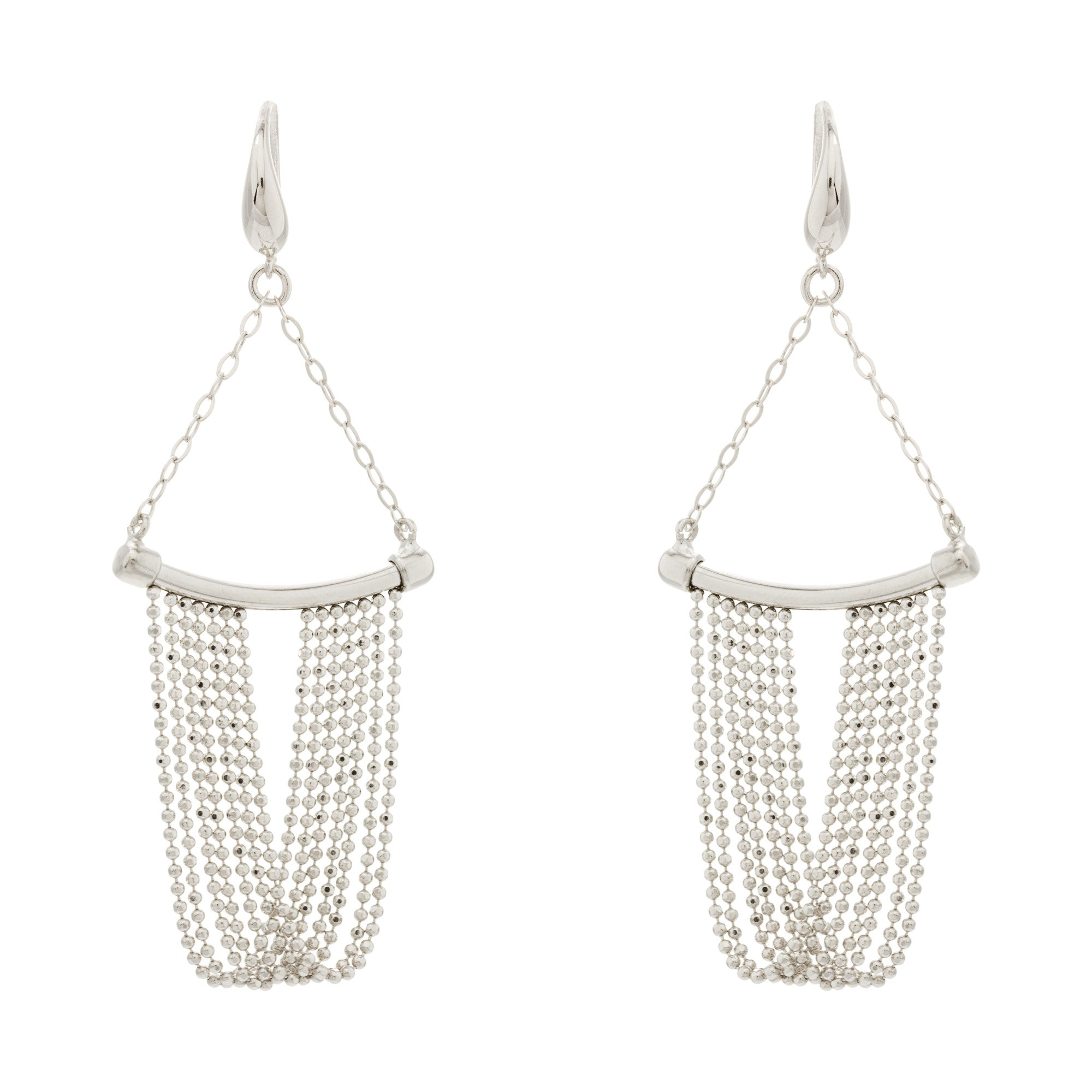Draped Diamond Cut Beaded Fringe Curved Bar Earring