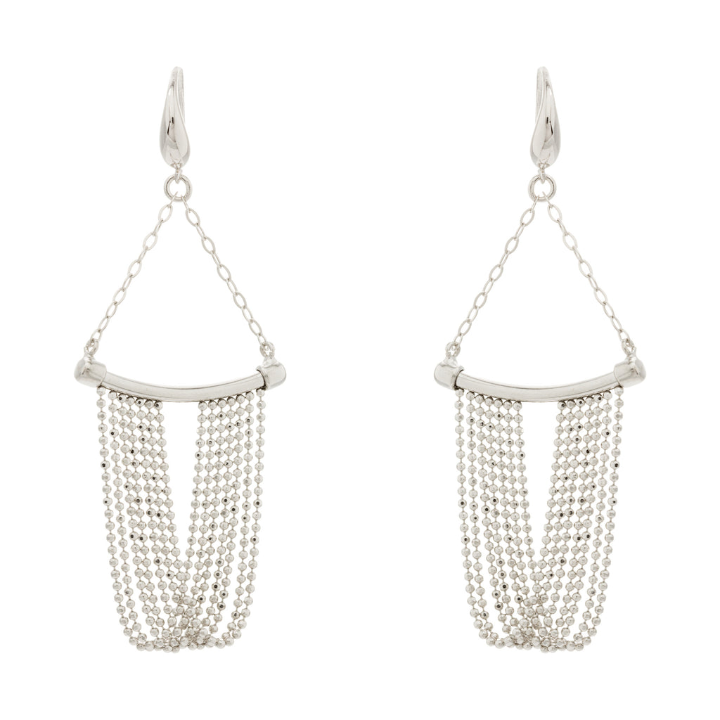 Draped Diamond Cut Fringe Curved Bar Earring