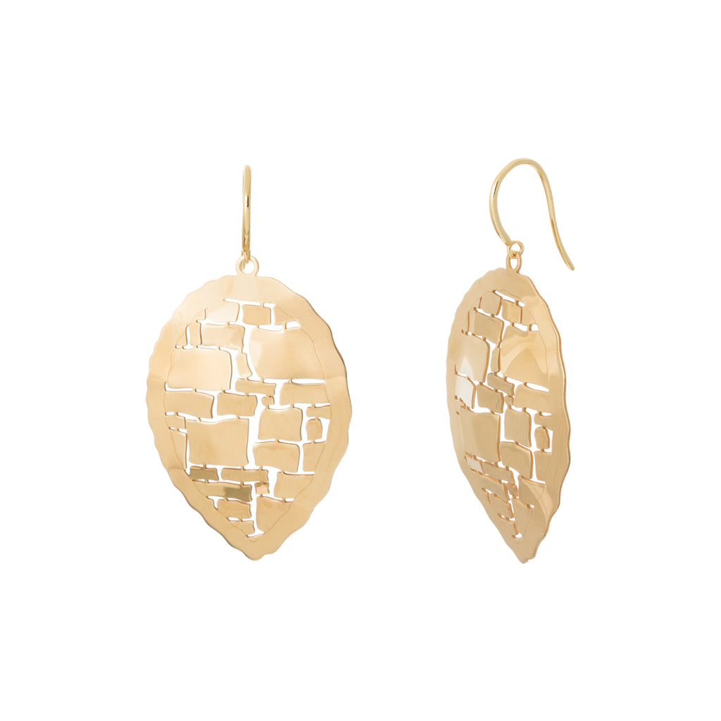 Gold Abstract Reverse Teardrop Earring