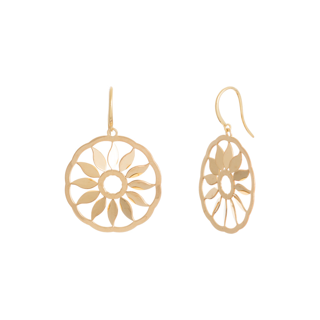 Gold Round Cut-Out Sun Drop Earring