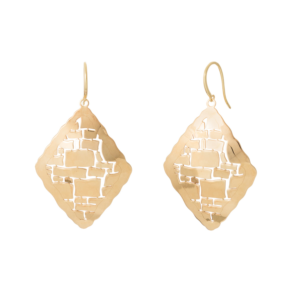 Gold Diamond Shape Abstract Drop Earring