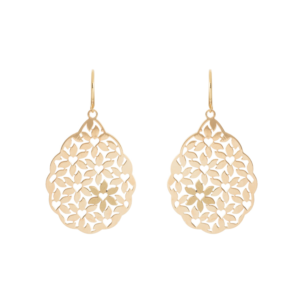 Gold Abstract Heart-Flower Filigree Earring