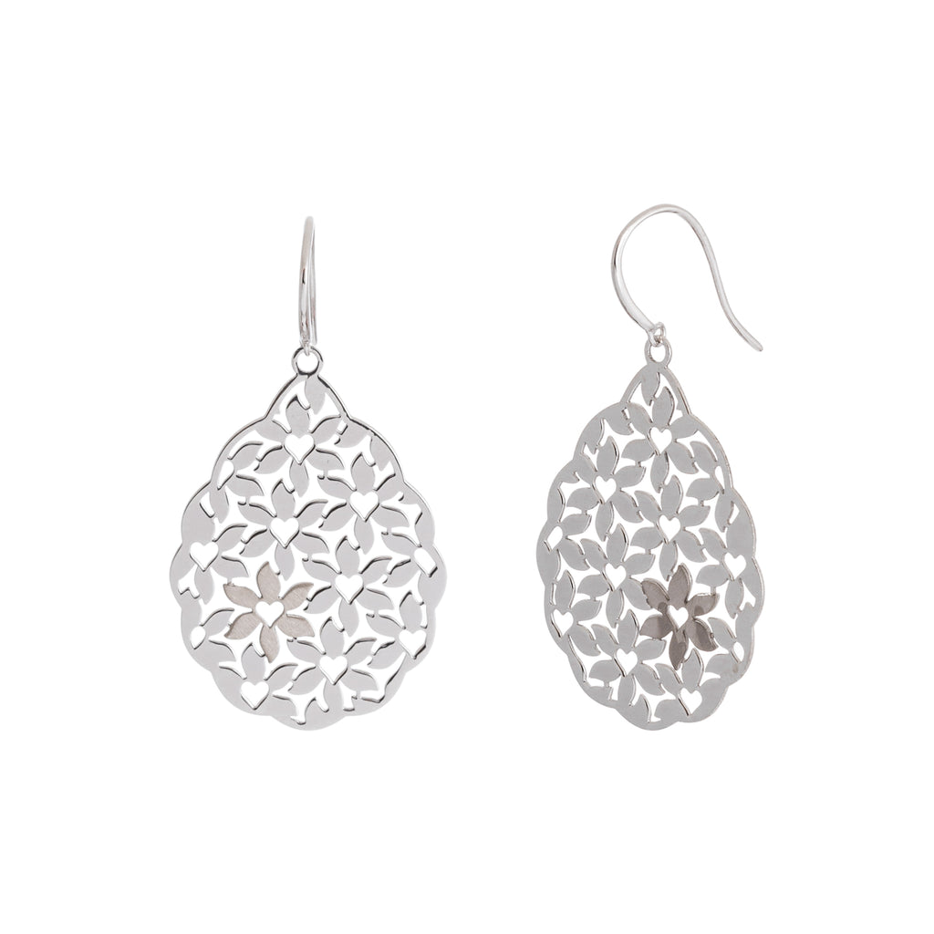 Abstract Heart-Flower Filigree Earring