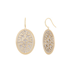 Two Tone Filigree Oval Drop Earring