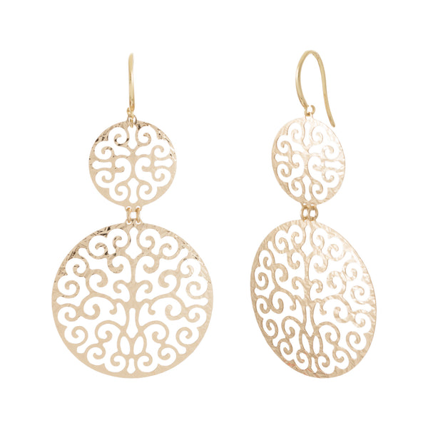 Double Round Hammered Filigree Cut-Out Statement Earring