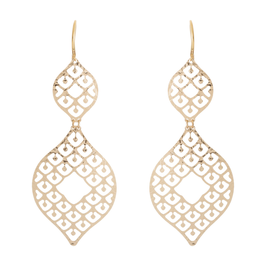 Abstract Hammered Filigree Cut-Out Statement Earring