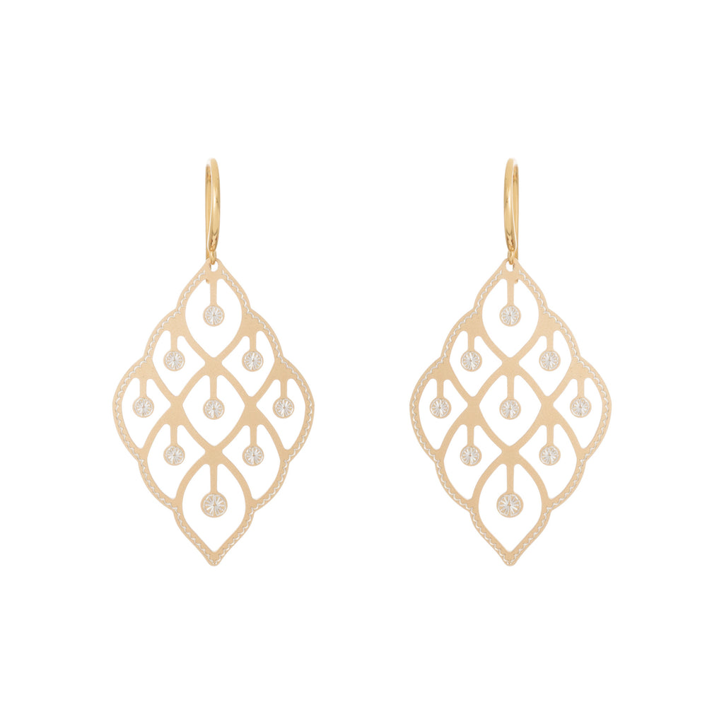 Gold Abstract Textured Filigree Drop Earring
