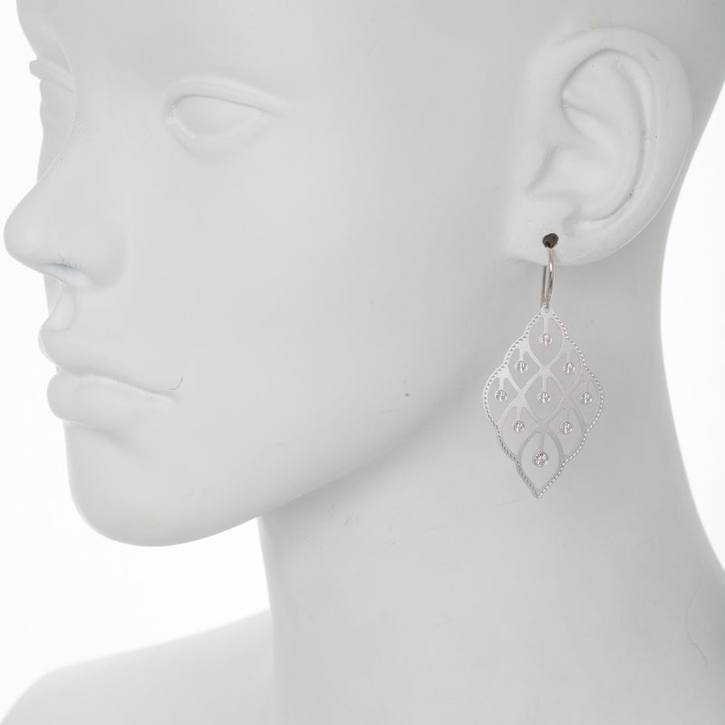 Matte Abstract Textured Filigree Cut-Out Drop Earring