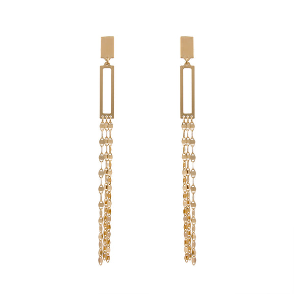 Mirror Link Open Rectangle Drop Earring