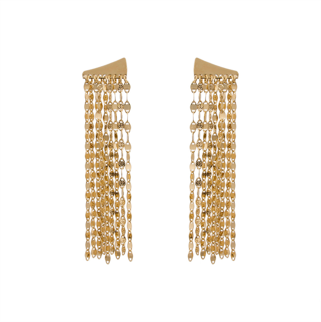 Multi Strand Mirror Link Drop Earring