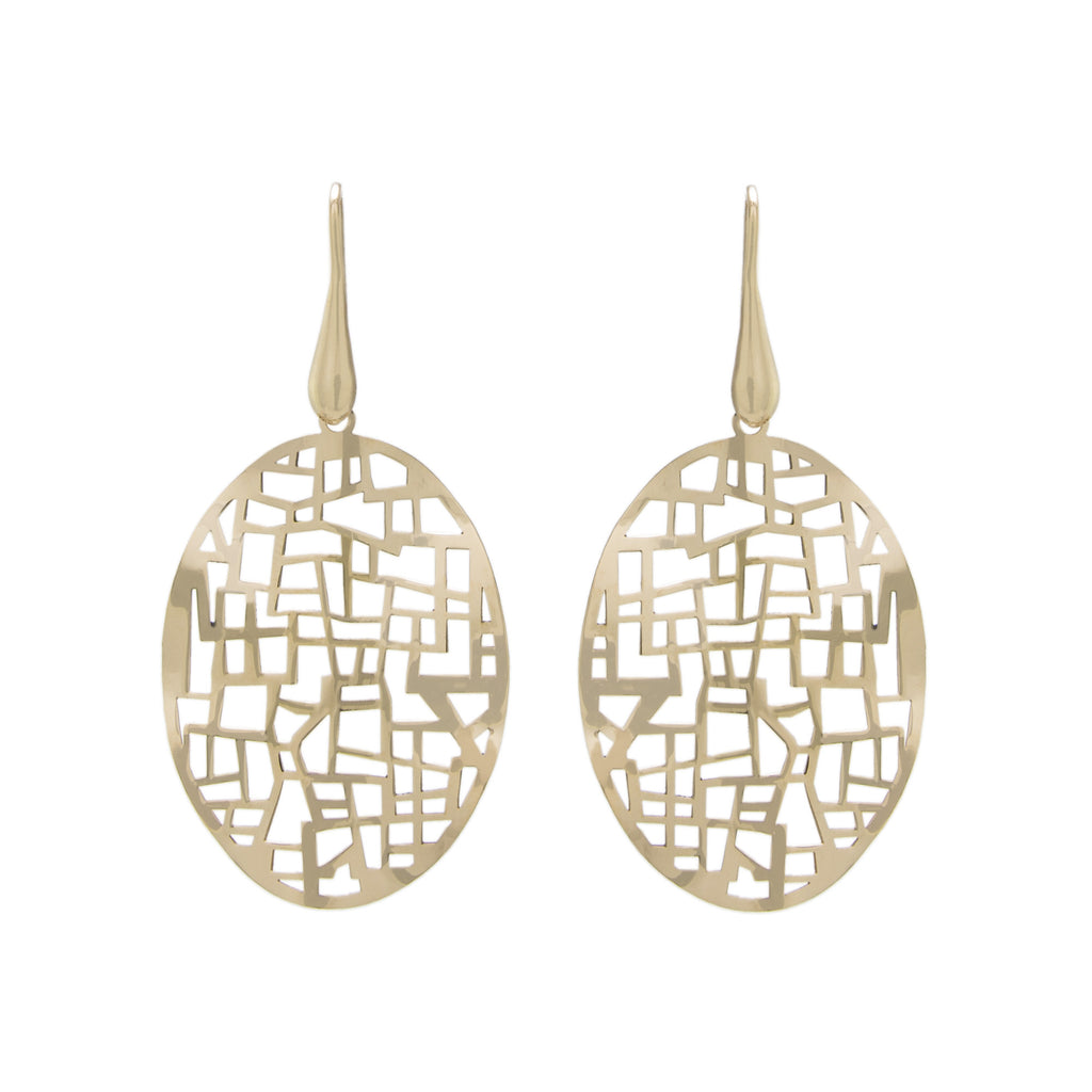 Cut Out Oval Wave Drop Earring