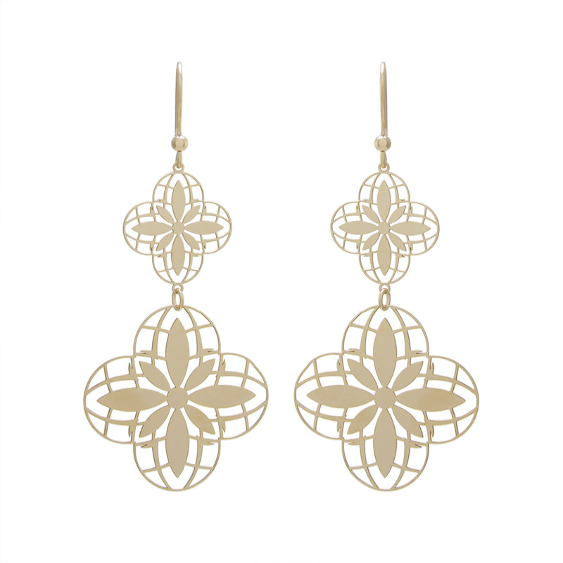 Double Flower Drop Earring