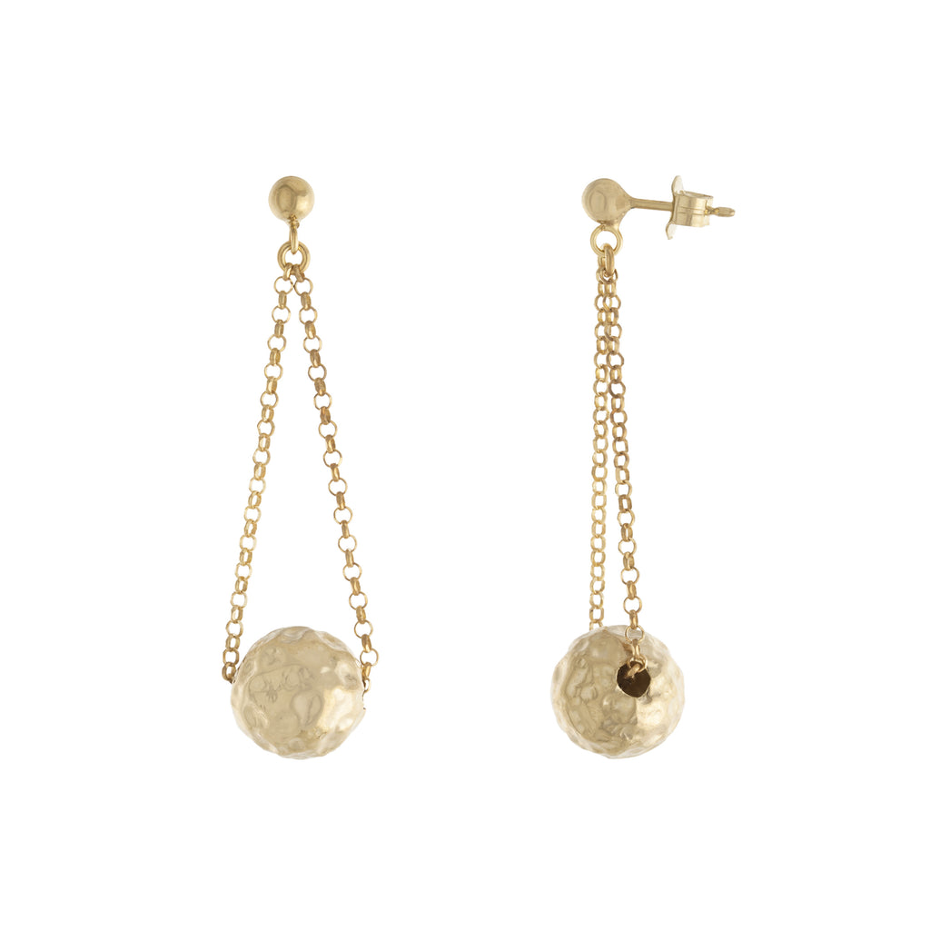 Chain Drop Hammered Ball Earring