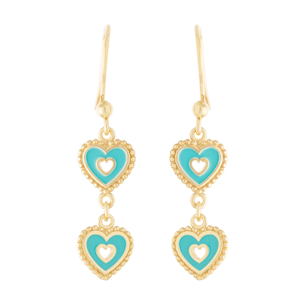 Double Heart Drop Earring