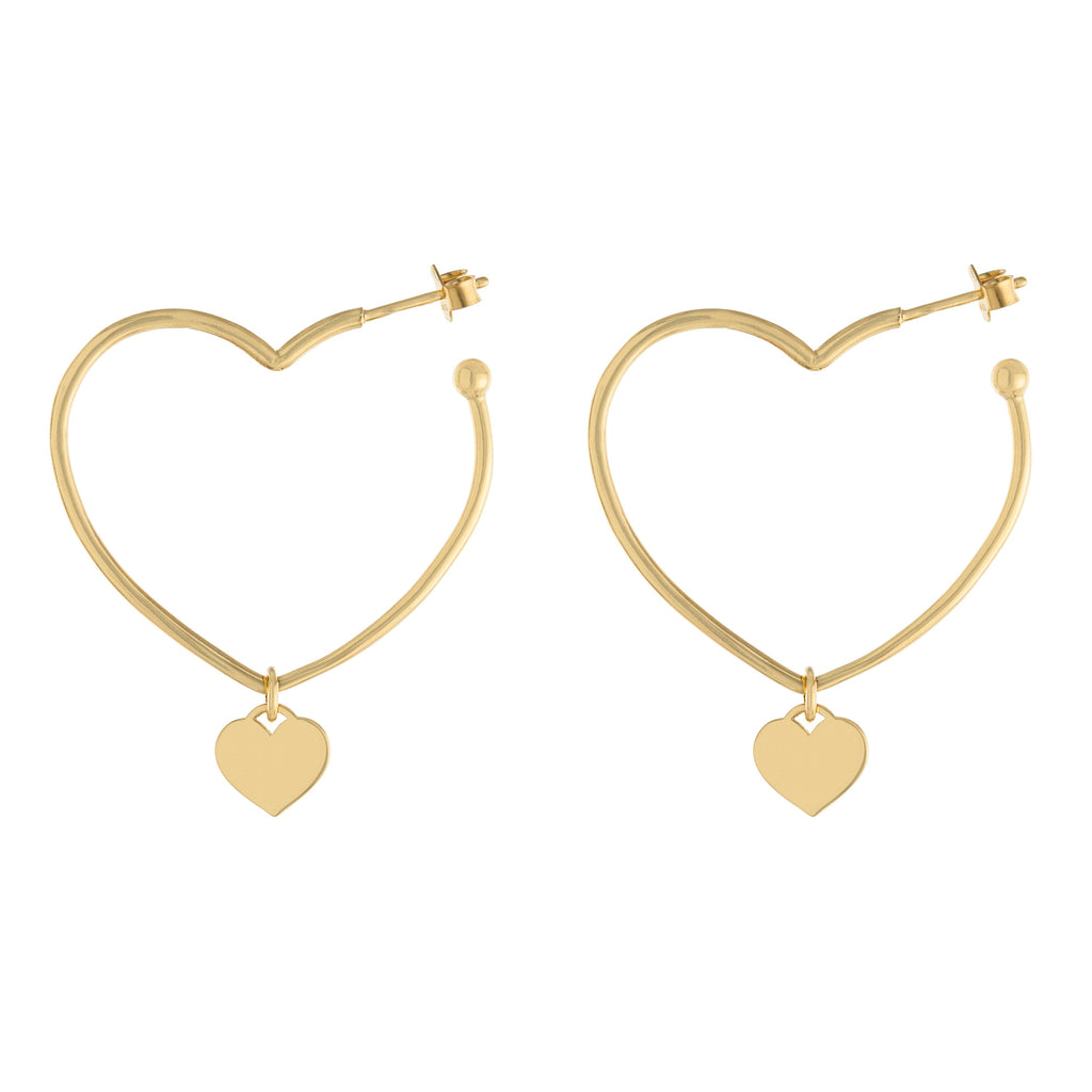 Heart Drop Hoop Earring
